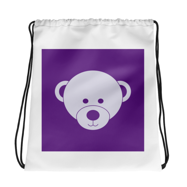 Purple and White Drawstring Bag 1