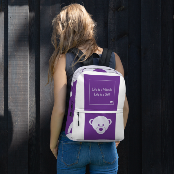 Gift of Life Purple and White Backpack 7
