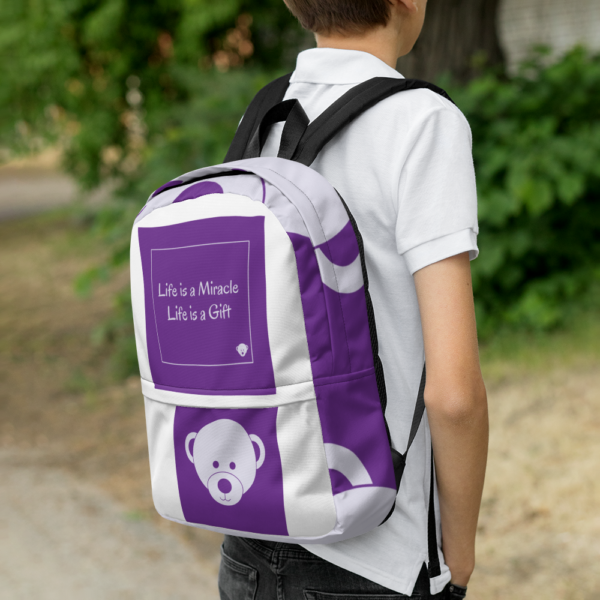 Gift of Life Purple and White Backpack 12
