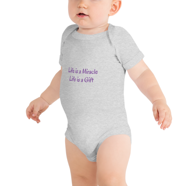 Grey Baby Onesie - Life is a Gift 1