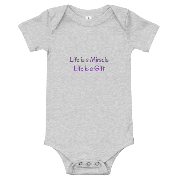 Grey Baby Onesie - Life is a Gift 2