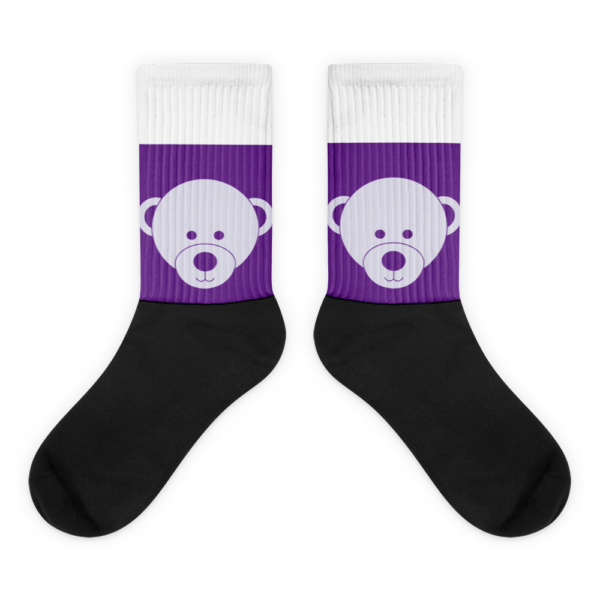 Gift of Life Purple and White Black Foot Tube Socks 1