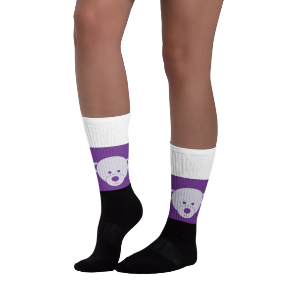 Gift of Life Purple and White Black Foot Tube Socks 2