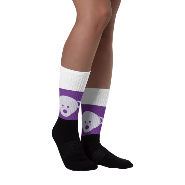 Gift of Life Purple and White Black Foot Tube Socks 3